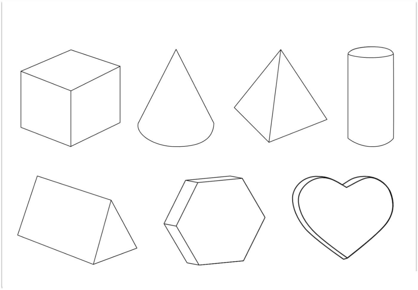 Раскраски фигуры объемные геометрические фигуры контур, шаблоны
