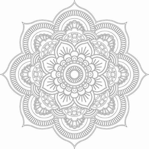 Раскраски для взрослых с эффектом антистресс, узор в виде цветка