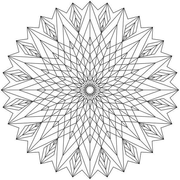 Раскраски для взрослых с эффектом антистресс, круглый узор из линий