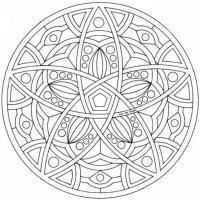 Раскраски для взрослых с эффектом антистресс, круг с пятилепестковым цветком в узоре
