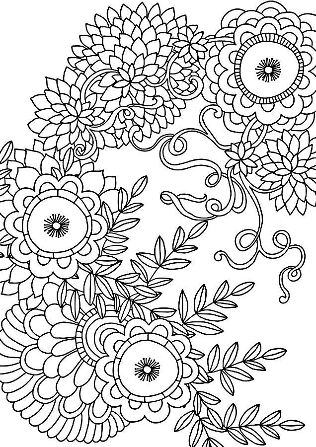 Узор Детские раскраски для девочек и мальчиков. цветы и ленты Раскраски распечатать