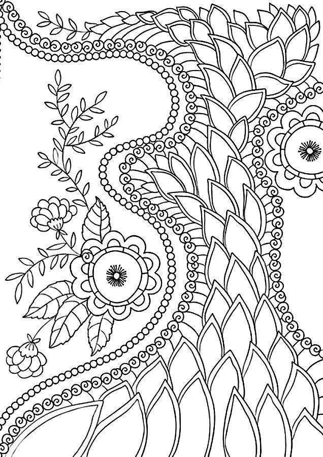 Детские раскраски для девочек и мальчиков. узор из цветов и листьев