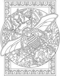 Детские раскраски для девочек и мальчиков. жук в круглом узоре
