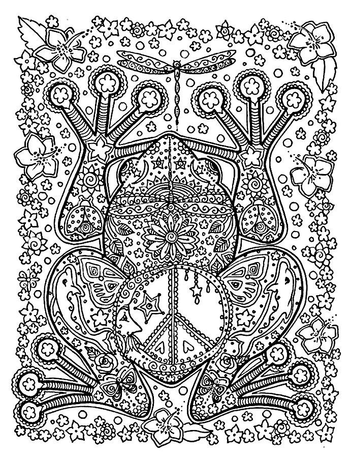 Детские раскраски для девочек и мальчиков. лягушка из цветочного узора