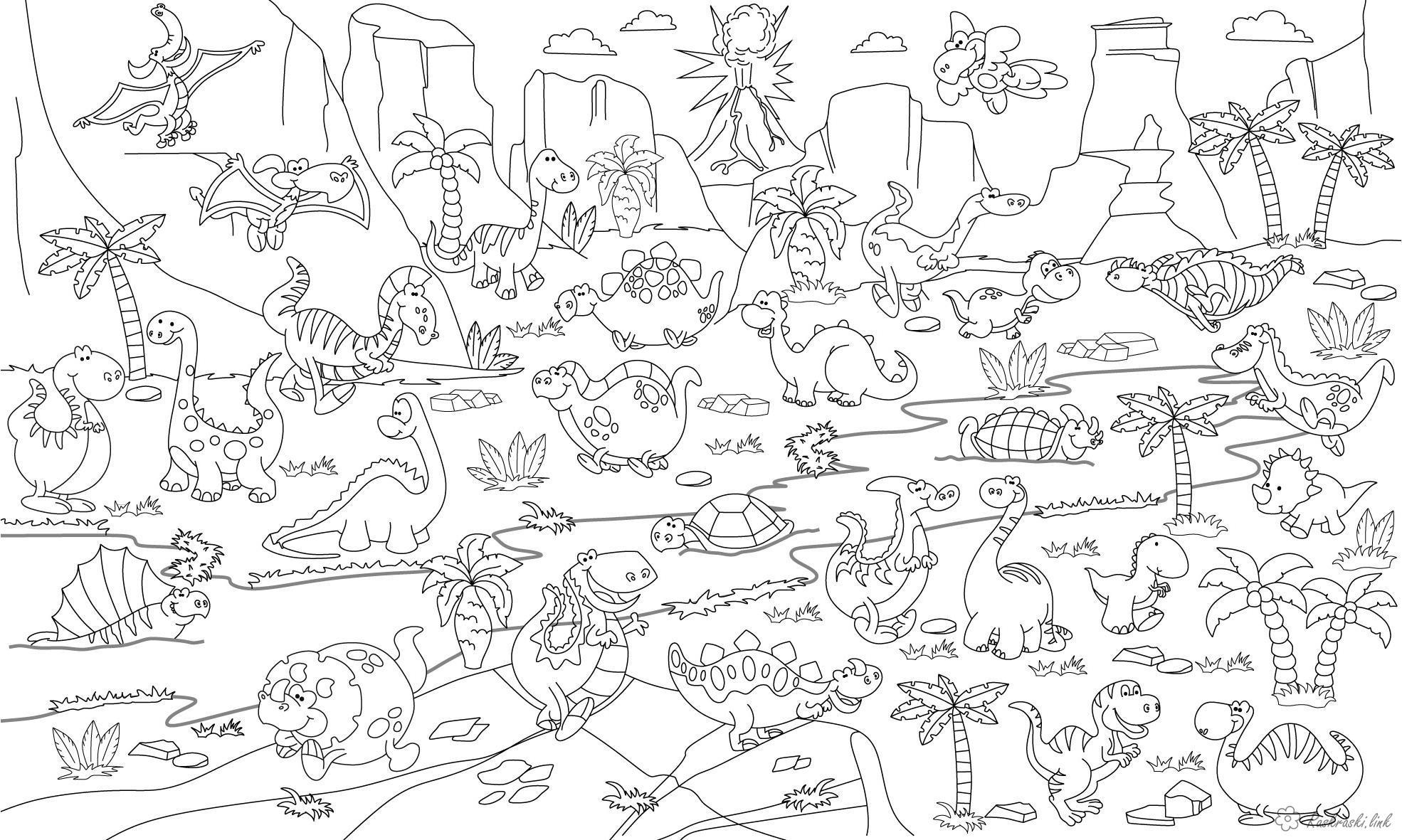 Раскраски горы рептилии, ящерица, динозавр, черепаха, река, горы, вулкан, пальмы