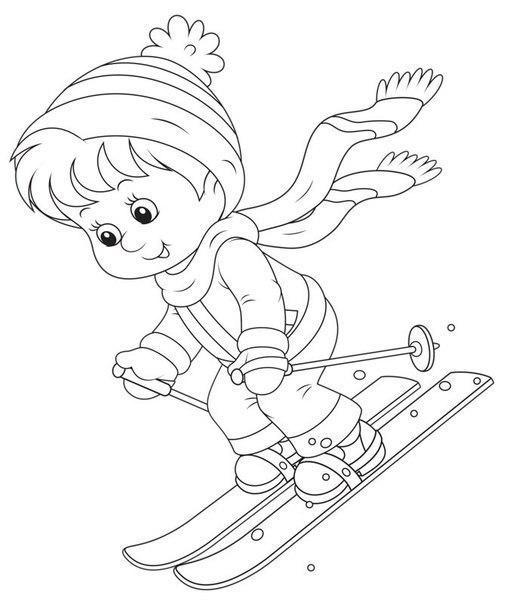 Раскраски горы мальчик, лыжи, лыжные палки, горный склон, зима