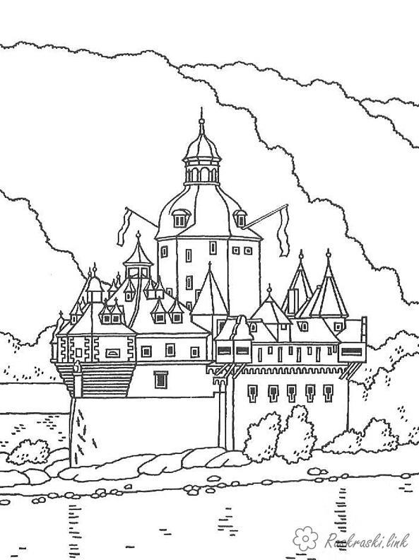 Раскраски горы путешествие европа страна замок история горы лес