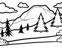 Детские раскраски для девочек и мальчиков. елки в горах