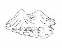 Детские раскраски для девочек и мальчиков. палатки в горах