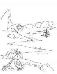 Детские раскраски для девочек и мальчиков. горы, море, кораблик в море