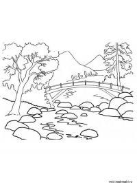 Скачать или распечатать раскраску распечатать скачать, мост в горах