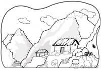 Раскраски горы раскраска пейзаж высокие горы,домики,скалы