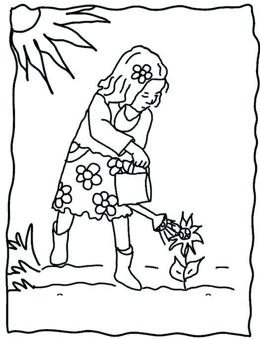 Раскраски отдых на природе раскраски для детей, природа, отдых на природе, девочка, цветок, солнце
