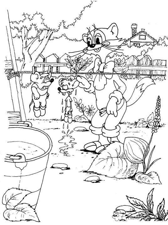 Раскраски отдых на природе раскраски для детей, природа, отдых на природе, животные, кот леопольд, мыши