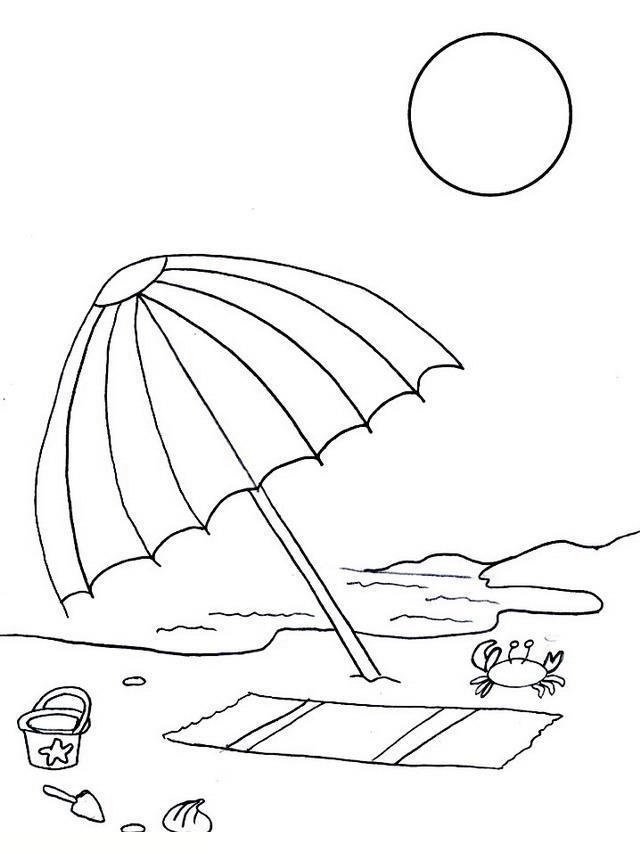 Раскраски отдых на природе раскраски для детей, природа, отдых на природе, зонт, море, солнце, пляж
