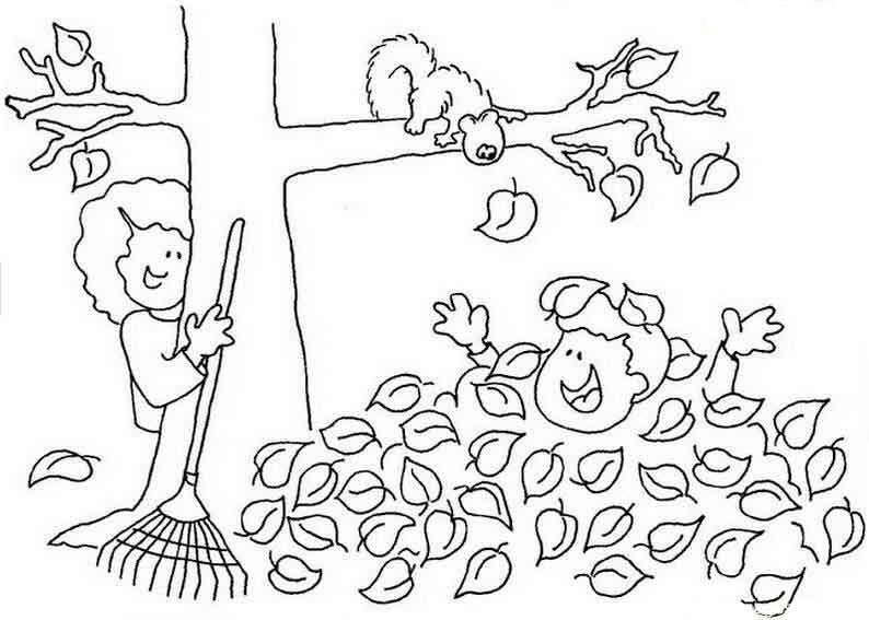 Скачать или распечатать раскраску распечатать скачать, уборка сада