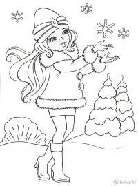Раскраски отдых на природе раскраски для детей, природа, отдых на природе, девочка, снег, снежинки