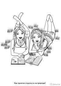 Раскраски отдых на природе раскраски для детей, природа, отдых на природе, девочки, девочки читают, книга