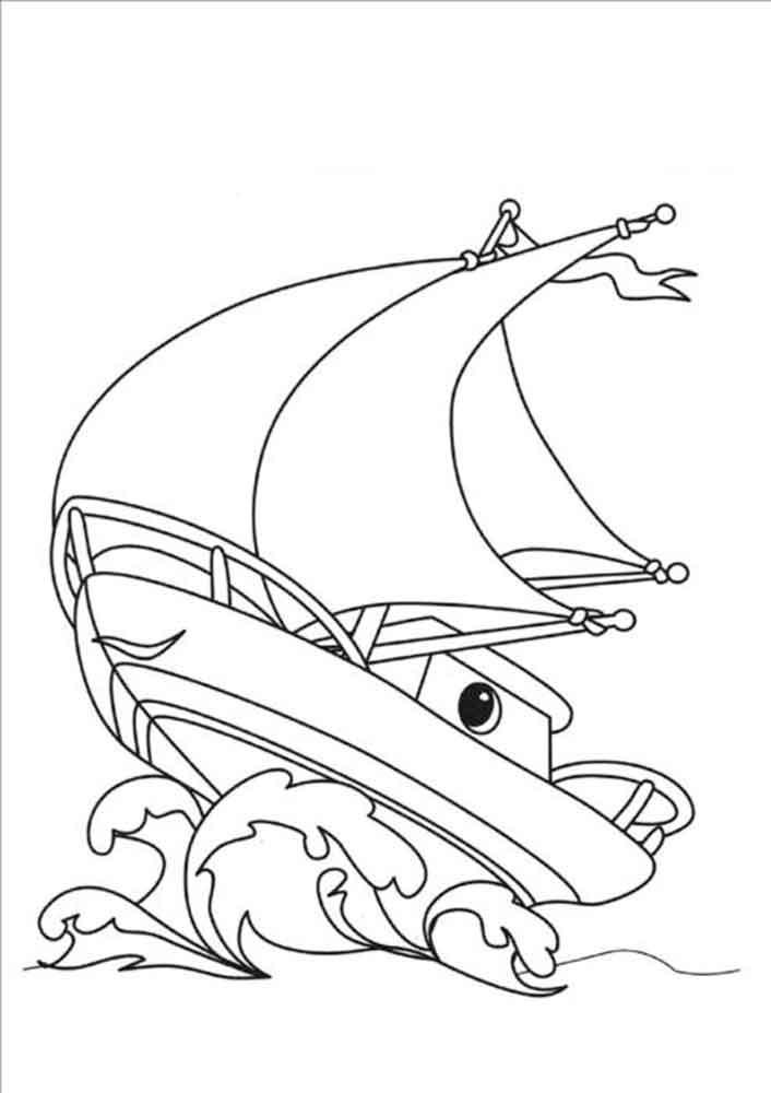 Скачать или распечатать раскраску распечатать скачать, парусная лодочка