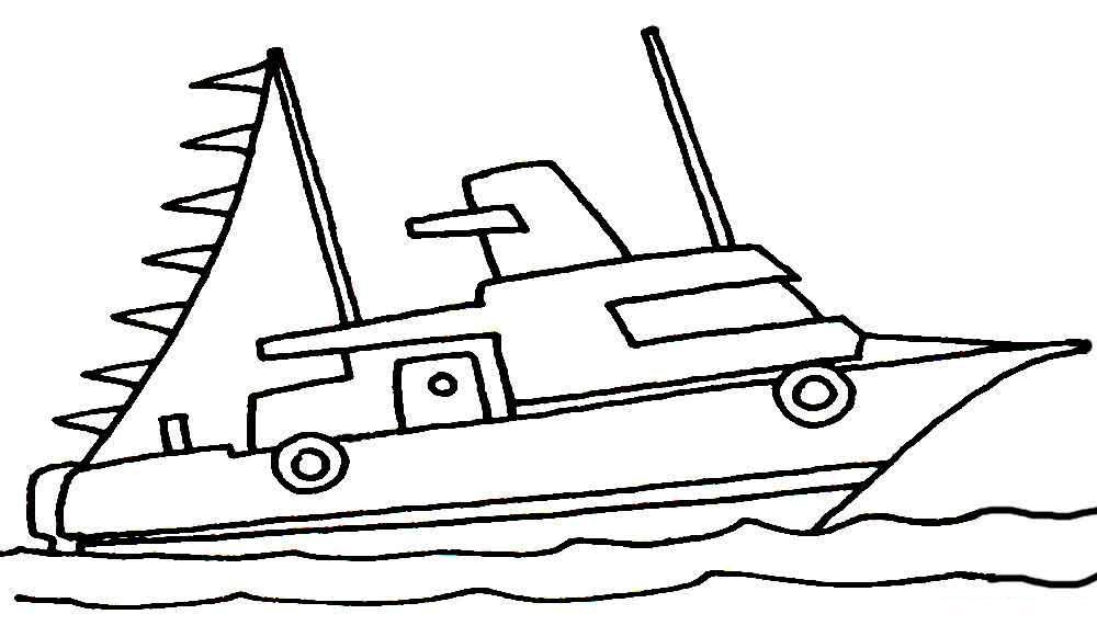 Скачать или распечатать раскраску распечатать скачать, яхта с флажками