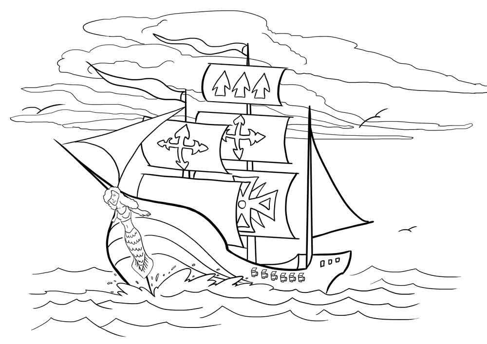 Скачать или распечатать раскраску распечатать скачать, корабль с гербами на парусах