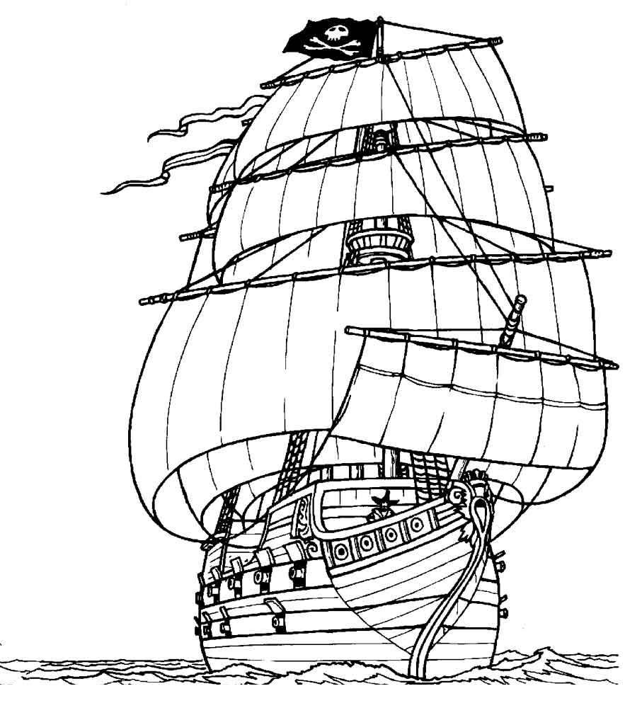 Скачать или распечатать раскраску распечатать скачать, пиратский корабль