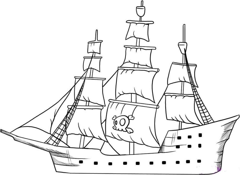 Скачать или распечатать раскраску распечатать скачать, пиратское судно