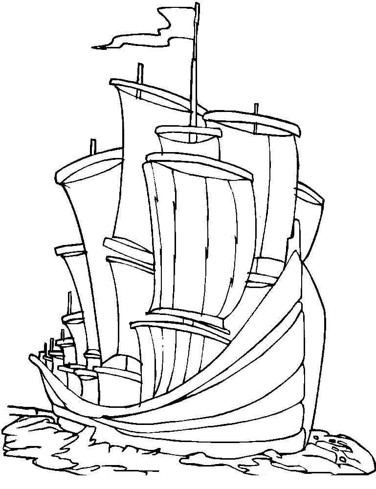 Скачать или распечатать раскраску распечатать скачать, необычный корабль