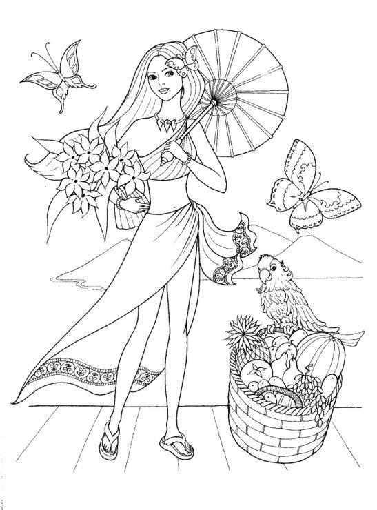 Раскраски отдыхе детские раскраски, природа, отдых, отдых на природе, девочка, девушка, девочка с зонтом, попугай, бабочки