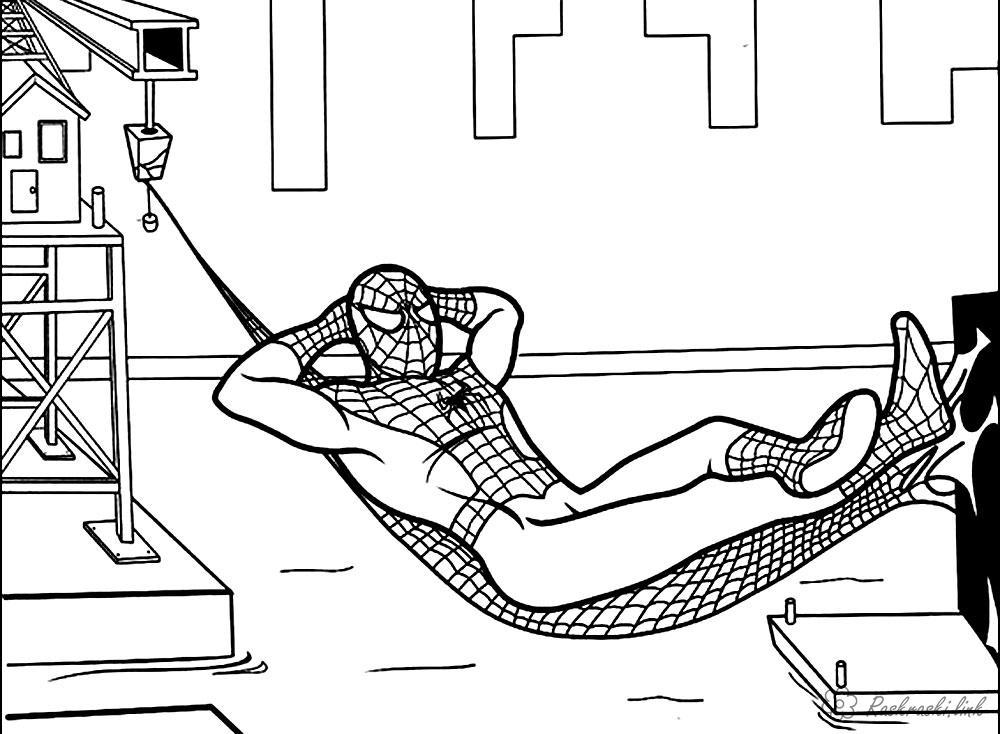 Раскраски отдыхе раскраска человек паук, на отдыхе, супергерои