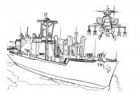 Скачать или распечатать раскраску распечатать скачать, военные корабль и вертолет