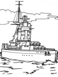 Скачать или распечатать раскраску распечатать скачать, корабль с пушками
