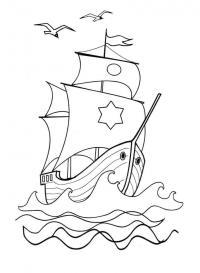 Скачать или распечатать раскраску распечатать скачать, корабль с рисунками на парусах