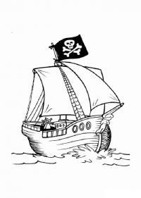 Скачать или распечатать раскраску распечатать скачать, пиратский парусник