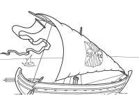 Скачать или распечатать раскраску распечатать скачать, корабль с гербом на парусах