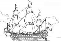 Скачать или распечатать раскраску распечатать скачать, корабль с множеством парусов