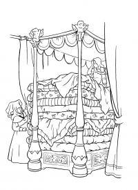Раскраска принцесса на горе перин, принцесса на горошине