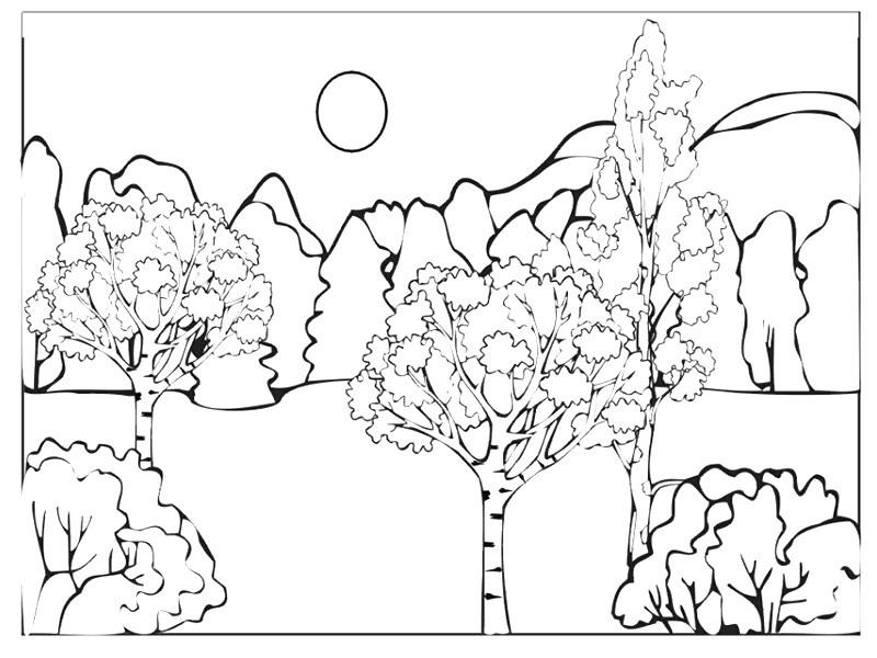 Раскраски пейзаж детские раскраски, природа, отдых, отдых на природе, лес, горы, деревья