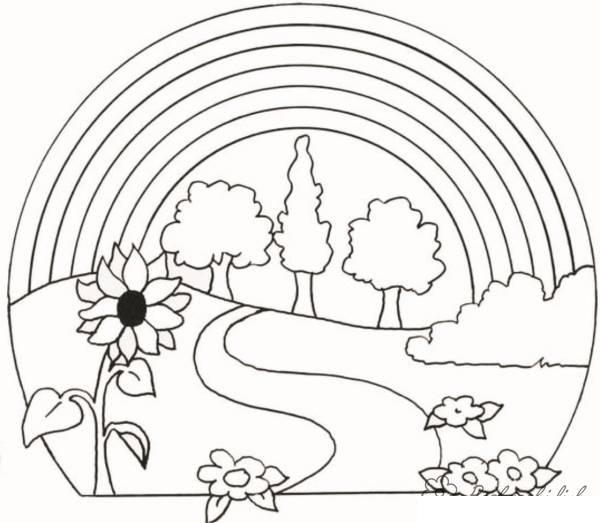 Раскраски пейзаж раскраска пейзаж,дорога,радуга,цветы,подсолнух
