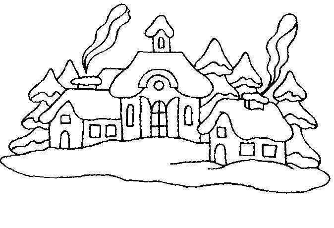 Лес Раскраски лес и пейзажи раскраска пейзаж заснеженные домики,дым из труб Раскраски распечатать