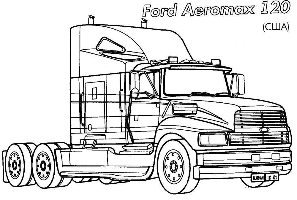 Раскраски грузовик грузовик ford aeromax раскраска для мальчиков