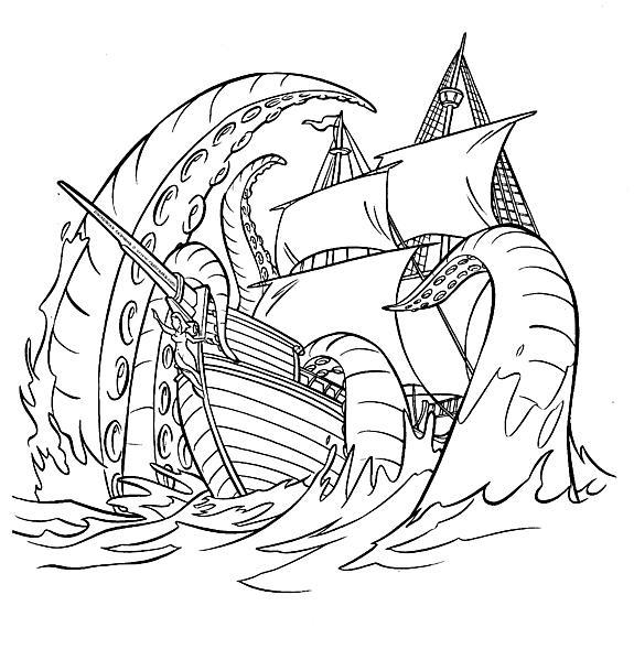 Раскраски море раскраска корабли, осьминог, море