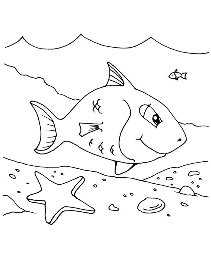 Детские раскраски для девочек и мальчиков. морская звезда и рыбка