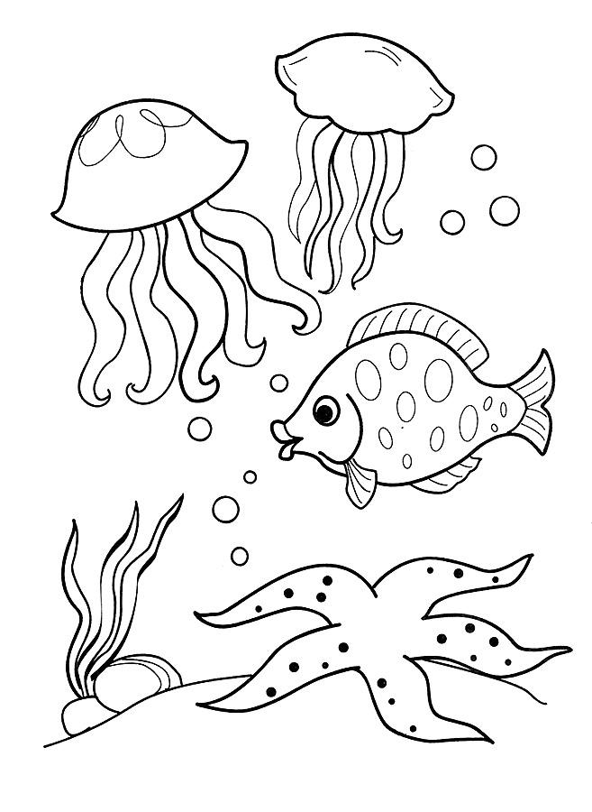 Детские раскраски для девочек и мальчиков. медузы