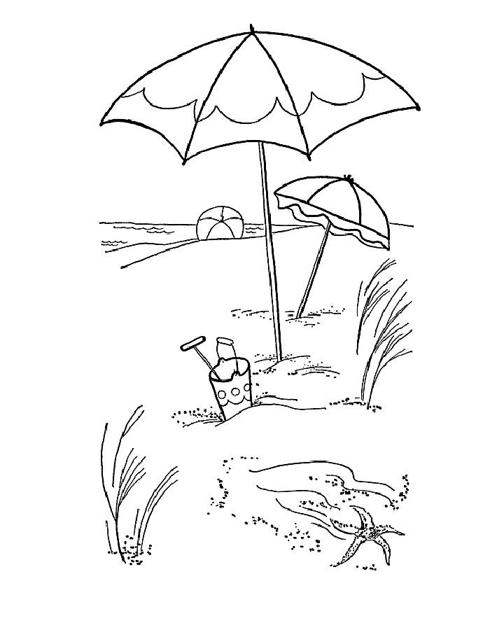 Детские раскраски для девочек и мальчиков.зонтик на пляже