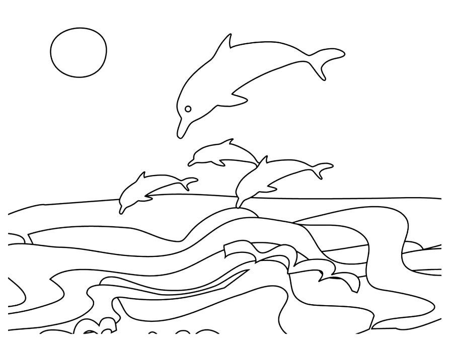 Детские раскраски для девочек и мальчиков. дельфины выпрыгивают из воды