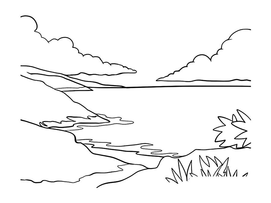 Детские раскраски для девочек и мальчиков. берег моря
