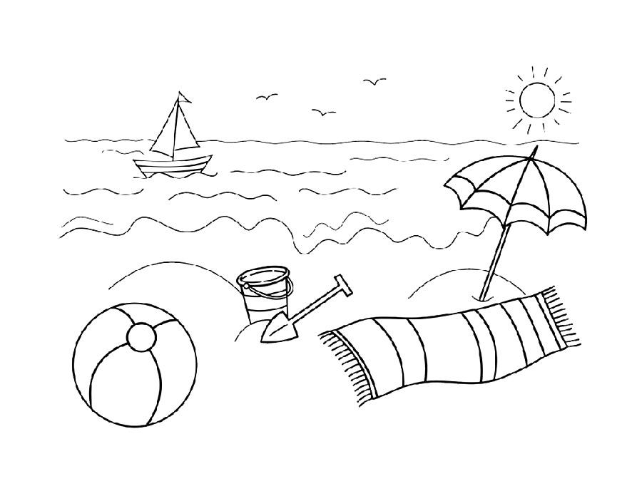 На пляже, детские раскраски для девочек и мальчиков.