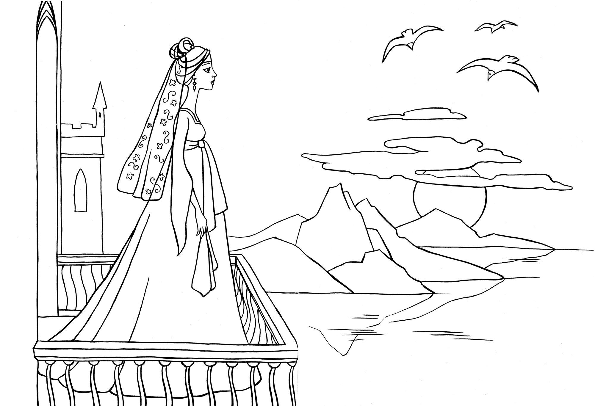 Птица Раскраска закат. раскраска на балконе, королева смотрит на закат, закат солнца, море, балкон дворца, чайка, раскраска королева Раскраски распечатать