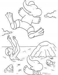 Детские раскраски для девочек и мальчиков. животные на море